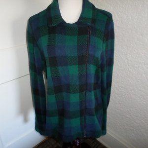 Chaps Buffalo Plaid Zip Knit Sweater Jacket L